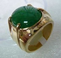 Wholesale Solitaire Emerald Rings - Men's jewelry real Natural green jade Ring Size:8-12