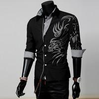 Wholesale Long Sleeve Tattoo Shirt Men - Men Male Fashion Long Sleeve European Style Tattoo Dragon Printed Shirt Silm Fit Shirt 4 Colors