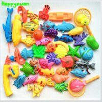 Wholesale Magnetic Game Set - Happyxuan 45pcs Set Plastic Magnetic Fishing Toys Game Kids 2 Poles 2 Nets 37 Magnet Fish 4 fruits Indoor Outdoor Fun Baby