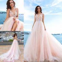 wedding dress pink vintage line NZ - 2017 Vintage Pink A Line Wedding Dresses V Neck Backless Appliques Beads Boho Beach Wedding Dress Chapel Train Tulle Lace Wedding Gowns