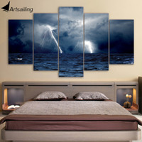Wholesale Wave Panel Painting - canvas clouds waves sea storm lightning ocean Painting Canvas Print room decor print poster picture canvas Free shipping NY-5777