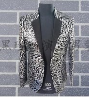 Wholesale Leopard Costume Xl - Leopard men suits designs masculino homme terno stage costumes for singers men sequin blazer dance clothes jacket style dress grey