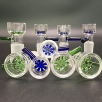 Wholesale Round Glass Bowls - Slide Glass Bowls Color snowflake filter bowl with Honeycomb Screen Round 14mm and 18mm male joint for Glass bongs water pipes
