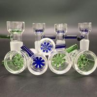 copos de nieve de cristal al por mayor-Herb Slide 14mm 18mm Cuencos de vidrio Color del tazón de filtro de copo de nieve con pantalla de nido de abeja Tazón de fumar de tabaco redondo para bongs de vidrio Dab Rig