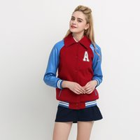 Rot Blau Farbe Block Frauen Bomberjacke Kurze Revers Casual Tops Weibliche Brief Applique Streetwear Damen Mantel