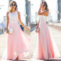 Wholesale Empire Waist Chiffon Maxi Dress - 2017 Women Cap Sleeve Maxi Dress Floral Hollow Patchwork Party Slim Long Dress High Waist Full Length Pink White Casual Party Banquet