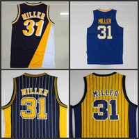 Wholesale Sleeveless Number - #31 reggie miller yellow blue stripe Navy Blue Rookie throwback hardwood classics Jersey stitched number and name Basketball Jerseys