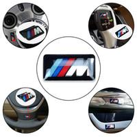 coche m3 al por mayor-Insignia de la rueda del vehículo del coche M emblema de la etiqueta engomada del emblema del deporte 3D para bmw serie M M1 M3 M5 M6 X1 X3 X5 X6 E34 E36 E6 Pegatinas de diseño del coche