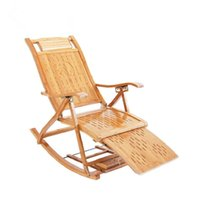 outdoor bamboo decking - Modern Bamboo Rocking Chair Recliner with Ottoman Indoor Outdoor Folding Lounge Deck Chair Bamboo Furniture Recliner Rocker