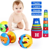 Empilage De Tasses En Gros Pas Cher-Vente en gros - Jouet pour bébé Fun DIY Coupe colorée empilée Cute Musical Grasp Handbell Development Ball Ball Bell Kids Baby Toy Rattle