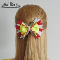 Wholesale Hairbow Flowers - 2017 Softball Flower mixed style wholesale Softball Flower Accessory and hair clip,softball hair bows,softball hairbow,baseball hairbow