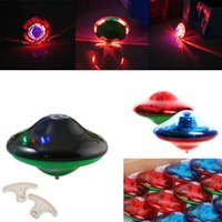 Vente en gros - 2017 Nouveau laser couleur flash LED Light Music Gyro Peg-Top Spinner Spinning Kids Toy Spinning Top YH-17