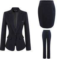 pantalón de abrigo azul oscuro al por mayor-Trajes de moda para mujer Vestido de dama de oficina Vestido de trabajo OL Falda pantalones con abrigo formal S-4XL Negro Gris Azul oscuro Envío gratis