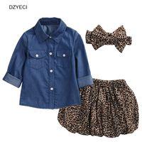 Wholesale Summer Denim Shirt Girl - Fashion Baby Girl Denim Leopard Set Clothing Children Long Sleeve Shirts Top+Shorts Skirt+Bow Headband 3PCS Outfits Kid Tracksuit