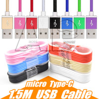 Wholesale Micro Usb Charger Wholesale - 1.5M Type C Long Strong Braided USB Charger Cable Micro V8 Cables Data Line Metal Plug Charging Galaxy S8 Plus