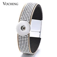 Wholesale Set Soft Bracelets - Wholesale-10PCS Lot Vocheng Ginger Snap Magnet Bracelet Soft Fabric White Crystal DIY Jewelry Fit 18mm NN-420*10 Free Shipping