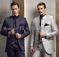 UK best groom wedding dress - Wholesale- 2015 Hot Sale 2 Color Groom Tuxedos Stand Collar Groomsmen dresses Best Man Wedding Prom Dinner Suits (Jacket+Pants+Vest+Tie)
