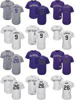 Wholesale Cheap Dj - 2017 Wholesale Mens Ladys Kids Colorado Rockies 9 DJ LeMahieu 26 David Dahl Grey Purple White Cheap Cool Flex Base Baseball Jerseys