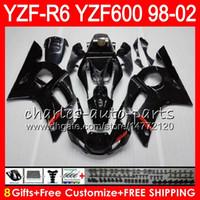 Wholesale Black 99 R6 Fairing Kit - 8Gifts 23Color For YAMAHA YZF600 YZFR6 98 99 00 01 02 YZF-R600 54HM1 gloss black YZF 600 YZF-R6 YZF R6 1998 1999 2000 2001 2002 Fairing kit