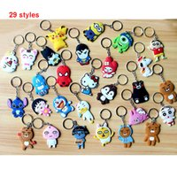 Wholesale Cute Cartoon Characters - Mixed lot diy Hot beautiful soft PVC silicone charms Keychain cute cartoon anime gift key pendant rubber Key chain Ring jewelry