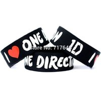 Wholesale 1d Wristbands Wholesale - Wholesale- 1 inch I love ONE DIRECTION 1D wristband silicone bracelets rubber cuff wrist bands bangle free shipping
