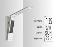 Wholesale Touch Sensitive Wall Switch - LED Desk Lamp Eye Care Portable USB Rechargeable Touch Sensitive Alarm Clock Calendar Temperature Display Hang on Wall