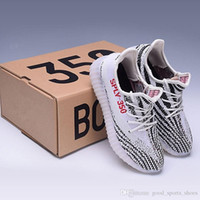 Wholesale Shoes Stripes - 2017 SPLY-350 Boost V2 2016 New Kanye West Boost 350 V2 SPLY Running Shoes Grey Orange Stripes Zebra Bred Black Red white orange 10 Color