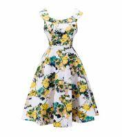желтое шифоновое платье макси оптовых-Оскар 50-х годов ретро макси платье звезда Одри Хепберн роскошные платья выпускного вечера желтый большие цветы печати шифон кружева юбка длинные платья для женщин лето