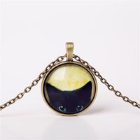Wholesale Necklaces For Pictures - Wholesale- 2016 Fashion Necklaces Glass Cabochon Bronze Chain Necklace Tradition Black Cat Picture Vintage Pendant For Women choker