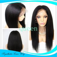 Wholesale Blue Baby Wig - Cool! Synthetic lace front yaki kinky straight wig glueless black heat resistant lace front wig with baby hair Free Shipping