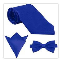 Wholesale Purple Tie Square Pocket - Wholesale Fashion Mens Ties Polyester Skinny Neck Ties Satin Solid Color Necktie Tie Hanky Handkerchief Pocket Square 3pcs Set Men Gift DHL