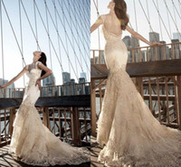 Wholesale Pnina Tornai V Neck Mermaid - Pnina Tornai Gorgeous 2017 Lace Wedding Dresses Romantic Backless Mermaid Bling Crystal Tiered Court Train Bridal Gowns Plus Size