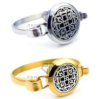 Wholesale Old Silver Crosses - Round Gold & Silver Old World Cross (25-30mm) Bracelet Aromatherapy Diffuser Locket Bracelet Essential Oils Diffuser Locket Bangle