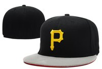 Wholesale Mens Cap Sizes - Free Shipping Pirates Fitted Hats Gorras Flat Brim Hats Baseball Team Masculino Pirates Size Cap Chapeau Homme Mens Womens Sports Gorras