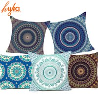 Wholesale Decorative Bohemian Pillows - Hyha Hippie Mandala Polyester Cushion Cover Bohemian Indian Style Geometric Pillow Cover Home Decorative Pillows For Sofa Car