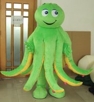 Wholesale Purple Mascot Costumes - 100% real photos of sea animal octopus mascot costume for adult to wear with green red purple yellow blue five different colours for choice