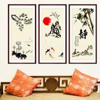 fondo de pantalla de loto en casa al por mayor-Elemento chino Mountain Pool Fish Bamboo Flying Birds Lotus Pegatinas de pared Home Decor Fake Frame Wallpaper Poster Calcomanías de arte Gráfico colgante