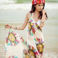 Wholesale Skirt China Wholesale - A1-A6 Women Beach Dress Sexy Sling Beach Wear Dress Sarong Bikini Cover-ups Wrap Pareo Skirts Towel Open-Back Swimwear Free china post