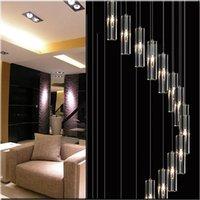 duplex-treppenlampe großhandel-Moderne minimalistische mode pendelleuchte k9 kristallblock s-förmige transparente duplex treppe kronleuchter treppenlampe lampen licht für hotel
