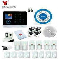 gsm rauchmelder großhandel-Großhandels-YobangSecurity WiFi G / M GPRS RFID drahtloses Sicherheits-Warnungssystem-drahtloses Innenaußenseiten-IP-Kamera-drahtlose Sirene-Rauch-Detektor