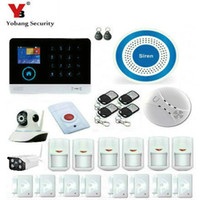 Wholesale Wireless Smoke Detector Cameras - Wholesale- YobangSecurity WiFi GSM GPRS RFID Wireless Security Alarm System Wireless Indoor Outdoor ip Camera Wireless Siren Smoke Detector
