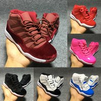 Wholesale Girls High Top Sneakers Children - New Baby Retro 11 High Top Basketball Shoes Boy Girl Trainer Sneaker Children Athletic Shoes Kids Sport Shoe Birthday Gift Red Pink Blue