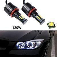 Wholesale H8 Led Fog Light Bulb - 2pcs 8000LM 120W Super White H8 Angel Eyes Halo Ring Light Bulbs Xenon LED For BMW CLT_60D