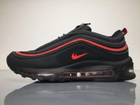 Wholesale Cheap Gym Wholesale - Top QualityMax 97 Og Qs Black Red Silver Bullet Sneakers Cheap Maxes 97s LX Swarovski Powerwall Breathable Cushion Sports Trainers Boosts