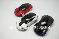Wholesale Blue Car Wireless Mouse - 50pcs lot # USB Car Shape Wireless Optical Mouse 10M 2 Blue Red White Mice Free FEDEX DHL Shipping 0001