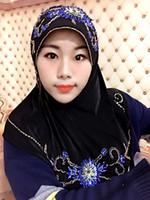Wholesale Violet Scarves - FREE SHIPPINGhot drilling diamond turban dubai luxury long chiffon violet shawl islamic women head scarf fashion muslim hijab Free Shipping