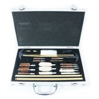 Wholesale Pistol Cleaning Set - CLEANING KIT BRUSH SET For PISTOLS GUN PISTOL RIFLE FULL CLEAN TOOL CASE SOLID BRASS 24pcs In 1