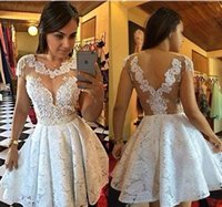 Wholesale Homecoming Dresses For Young Girls - 2017 Short White Lace Prom Dresses Mini Illusion See Through Cap Sleeve A-line Sexy Homecoming Party Gowns For Young Girls