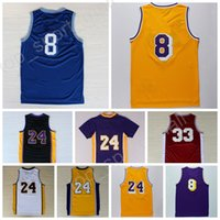 Wholesale Hot 24 - Hot 8 Kobe Bryant Jersey 24 Throwback High School Lower Merion 33 Bryant Retro Basketball Jerseys Yellow Purple White Black with player name