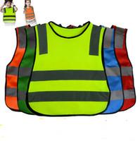 abrigo de tráfico al por mayor-Chaleco reflectante de seguridad de alta visibilidad Abrigo para niños Advertencia Chalecos reflectantes Traje de trabajo Chaleco verde para niños Estudiantes